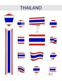 Собрание флага Таиланда плоское бесплатная иллюстрация