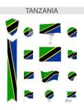 Собрание флага Танзании плоское иллюстрация вектора
