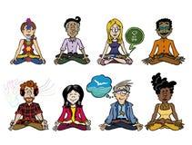 Собрание 8 характеров практикуя mindfulness иллюстрация штока
