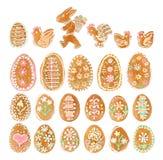 Собрание хлеба имбиря пасхального яйца на белизне Стоковое фото RF