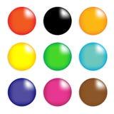 Собрание цветастых лоснистых сфер изолированных дальше   Стоковые Фото