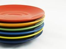 Собрание цветастых тарелок Стоковое Фото