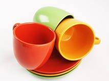 Собрание цветастых тарелок Стоковое Изображение RF