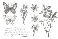 Собрание цветков и заводов руки вычерченных Ботаника r Винтажные цветки Черно-белая иллюстрация в стиле иллюстрация вектора