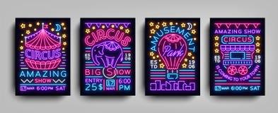 Собрание цирка стиля шаблонов дизайна плакатов неонового Комплект неоновых вывесок, шатер цирка, слон, парк атракционов иллюстрация вектора