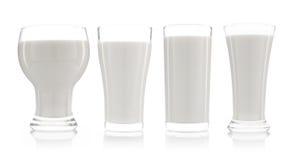 собрание чашки изолированных молока и бутылки молока Стоковые Изображения RF