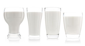 собрание чашки изолированных молока и бутылки молока Стоковая Фотография