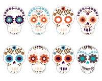 Собрание черепов сахара вектора на день умерших Бесплатная Иллюстрация