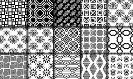 Собрание черно-белых безшовных картин иллюстрация вектора