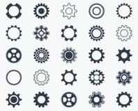 Собрание черных значков колеса шестерни иллюстрация вектора