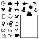 Собрание черных значков на белой предпосылке вектор Стоковые Фото