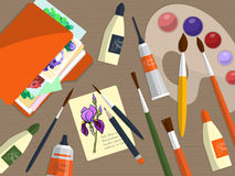Собрание чертегных инструментов и папки с бумагами на таблице вектор Стоковая Фотография RF