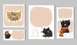 Собрание 6 шаблонов рождественской открытки Установленные плакаты рождества также вектор иллюстрации притяжки corel Собрание зимн Стоковое фото RF