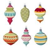 Собрание шариков рождества руки вычерченное плоское изолированное на белом ба иллюстрация штока