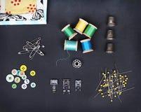 Собрание шить деталей стоковая фотография rf