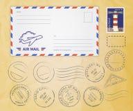 Собрание штемпелей почтового сбора Стоковое Изображение RF