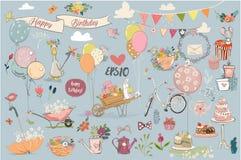 Собрание элементов дня рождения симпатичное бесплатная иллюстрация