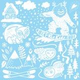 Собрание элементов руки зимы вычерченное E Шале, горы и животные леса r иллюстрация штока