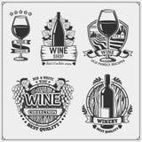 Собрание эмблем винного магазина винтажных, ярлыков, значков и элементов дизайна бесплатная иллюстрация