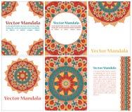 Собрание этнических карточек и приглашений свадьбы с индийским орнаментом Стоковое фото RF