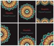 Собрание этнических карточек и приглашений свадьбы с индийским орнаментом Стоковое Фото