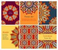 Собрание этнических карточек и приглашений свадьбы с индийским орнаментом Стоковое Изображение