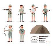 Собрание элементов охотника, охотника, егеря, forester и лучника с оружиями и различными действиями людей иллюстрация вектора