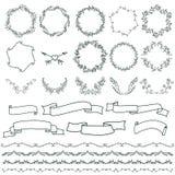 Собрание элементов украшения вектора нарисованных рукой Стоковые Фотографии RF