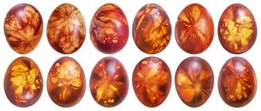 Собрание дюжины красных цветов пасхальных яя покрашенное и украшенное с Leav Стоковые Изображения RF