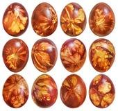 Собрание дюжины красных цветов пасхальных яя покрашенное и украшенное с Leav Стоковая Фотография RF