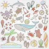 Собрание doodle потехи лета Стоковое Изображение RF