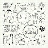 Собрание doodles рождества и Нового Года Стоковое Фото
