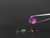 Собрание gemstones иллюстрация 3d Стоковые Изображения RF