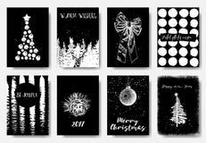 Собрание handdrawn шаблонов рождественской открытки Новый Год prese стоковые фото