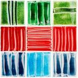 Собрание handmade застекленных керамических плиток Стоковые Изображения