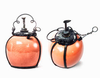 Собрание lantren Винтажная лампа фонарика масла керосина на isolat Стоковые Изображения RF