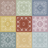 Собрание monochrome шаблонов дизайна вензеля иллюстрация штока