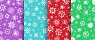 Собрание paterns снежинок безшовное Комплект предпосылок зимы Текстуры вектора шаблона Белый, голубой, красный, фиолетовый, зелен иллюстрация вектора