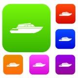 Собрание Powerboat установленное иллюстрация вектора