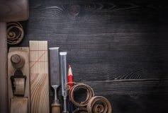 Собрание shavings planer плоских зубил деревянных Стоковые Изображения RF