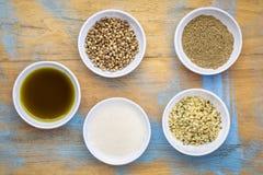 Собрание superfoods семени пеньки стоковое изображение rf