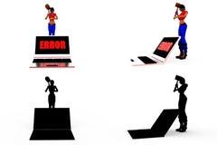 собрания концепции ошибки электронно-вычислительной машины женщины 3d с каналом альфы и тени Стоковое Изображение
