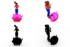 собрания концепции piggybank женщины 3d с каналом альфы и тени Стоковое Фото