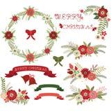 Собрания рождества флористические Элементы, ярлык, венок, колокол Стоковые Изображения RF