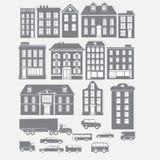 Собрания старого типа серых зданий города Стоковое Изображение