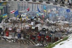 Событие в Украине Maidan Barikada с революционерами Стоковая Фотография RF