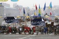 Событие в Украине Maidan Barikada с революционерами Стоковое Фото