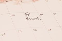 Событие слов написанное на календаре Стоковые Изображения RF