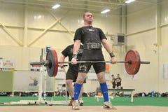 Событие Powerlifting - подъем deadlift Стоковое Фото