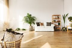Совершенная живущая комната с софой стоковые изображения rf